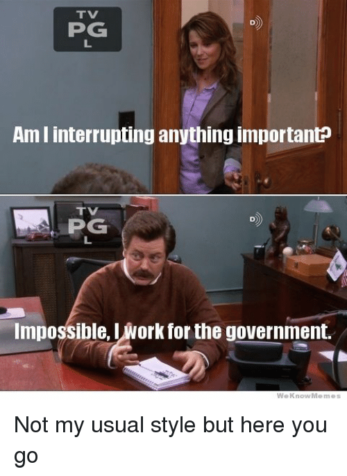 Work, Government, and You: TV  PG  Am I interrupting anything importanE  TVI  Impossible, L work for the government. Not my usual style but here you go