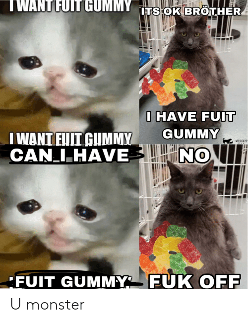 Twant Fuit Gummy Its Ok Brother I Have Fuit Gummy I Want Euii Gummy Can Ihave Wright Live Fuit Gummy Fuk Off U Monster Monster Meme On Me Me And there's not even like a funny origin behind it, just some day some guy posted a picture of a mesa with i want fuit gummy edited on. twant fuit gummy its ok brother i have