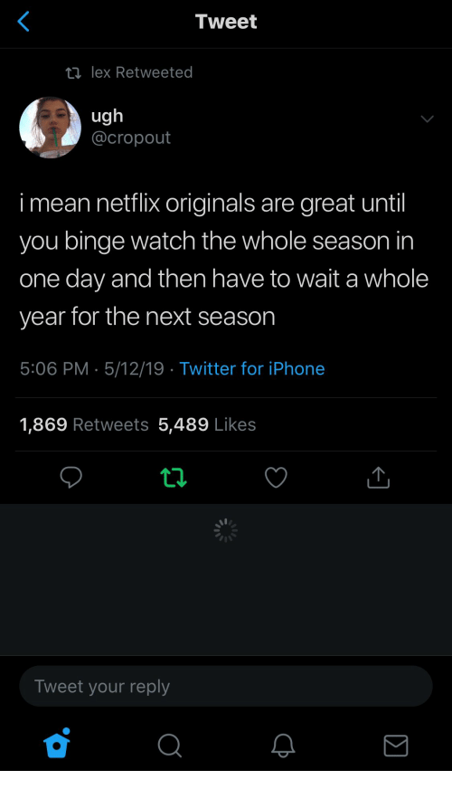 Iphone, Netflix, and Twitter: Tweet  ロlex Retweeted  ug  @cropout  i mean netflix originals are great until  you binge watch the whole season in  one day and then have to wait a whole  year for the next season  5:06 PM 5/12/19 Twitter for iPhone  1,869 Retweets 5,489 Likes  Tweet your reply