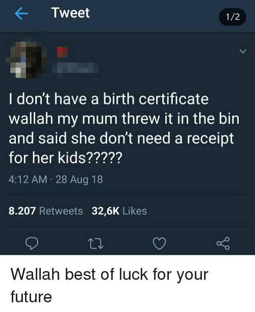 Tweet 12 I Don\'t Have a Birth Certificate Wallah My Mum Threw It in ...
