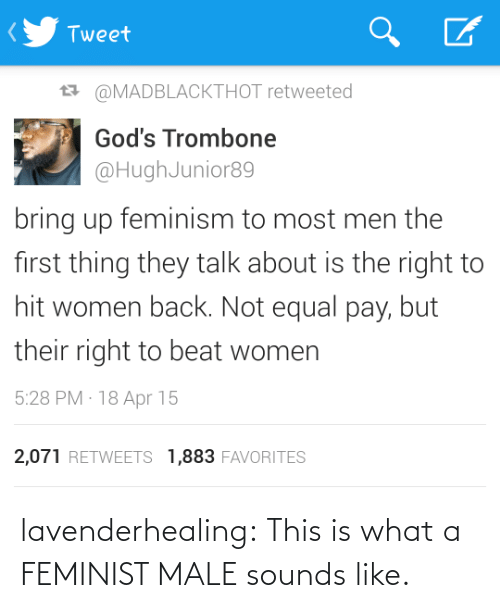 Feminism, Tumblr, and Blog: Tweet  27 @MADBLACKTHOT retweeted  God's Trombone  @HughJunior89  bring up feminism to most men the  first thing they talk about is the right to  hit women back. Not equal pay, but  their right to beat women  5:28 PM · 18 Apr 15  2,071 RETWEETS 1,883 FAVORITES lavenderhealing:  This is what a FEMINIST MALE sounds like.