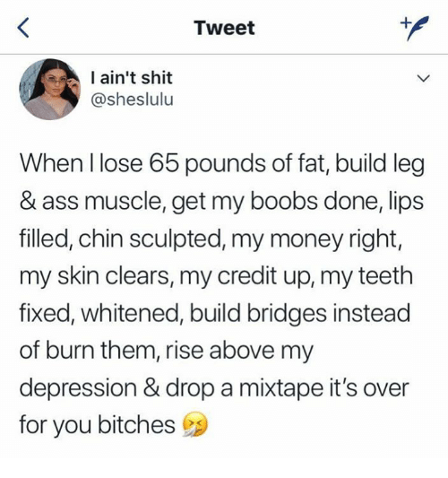 Ass, Money, and Shit: Tweet  ain't shit  @sheslulu  When llose 65 pounds of fat, build leg  & ass muscle, get my boobs done, lips  filled, chin sculpted, my money right,  my skin clears, my credit up, my teeth  fixed, whitened, build bridges instead  of burn them, rise above my  depression & drop a mixtape it's over  for you bitches