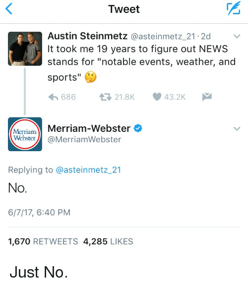 "News, Sports, and Weather: Tweet  Austin Steinmetz  @asteinmetz 21.2d  It took me 19 years to figure out NEWS  stands for ""notable events, weather, and  sports  43.2K  t 21.8K  686  Merriam-Webster  Merriam  Webster  @Merriam Webster  Replying to @asteinmetz 21  No  6/7/17, 6:40 PM  1,670  RETWEETS 4,285  LIKES Just No."
