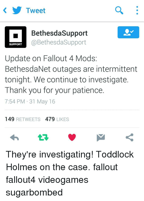 Tweet Bethesda Support Bethesda Support SUPPORT Update on