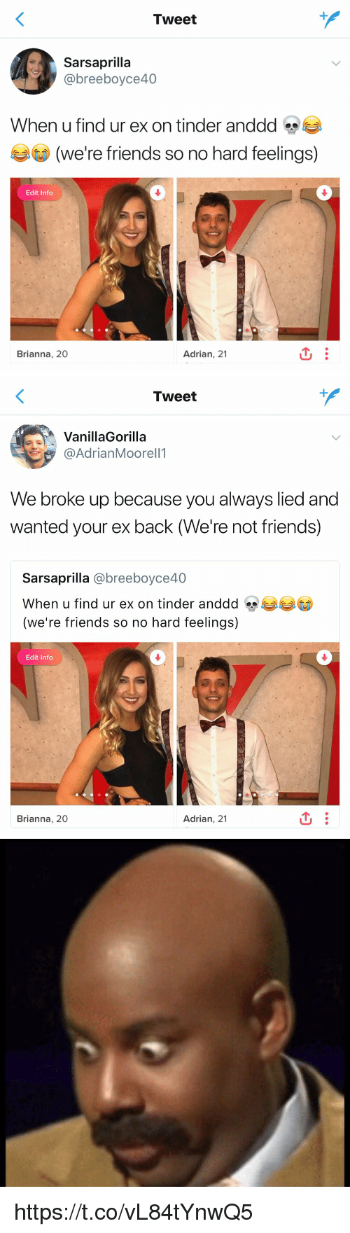 Friends, Funny, and Tinder: Tweet  @breeboyce40  When u find ur ex on tinder anddd s  (D)  (We're friends so no hard feelings)  Edit Info  Brianna, 20  Adrian, 21   Tweet  VanillaGorilla  ヲ@AdrianMoorell1  We broke up becau  wanted your ex back (We're not friends)  se you always lied and  Sarsaprilla @breeboyce40  When u find ur ex on tinder anddd eyeaeaGD  (we're friends so no hard feelings)  Edit Info  Brianna, 20  Adrian, 21 https://t.co/vL84tYnwQ5