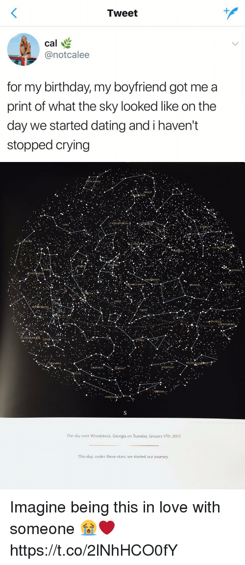 Birthday, Crying, and Dating: Tweet  cal  @notcalee  for my birthday, my boyfriend got me a  print of what the sky looked like on the  day we started dating and i havent  stopped crying   RSA  ELOPARDAL  LYNX  CANCER  SAÇ  INUS  ANIS  DROMEDA  ANCULU  ULEUS  ·ARIES  PISCES  . ...adUARu  CANIS MADR  LUMBA  ERIDANUS  ORNAX  ELUM.  The sky over Woodstock, Georgia on Tuesday. January 17th. 2017  This day. under these stars. we started our journey Imagine being this in love with someone 😭❤️ https://t.co/2lNhHCO0fY