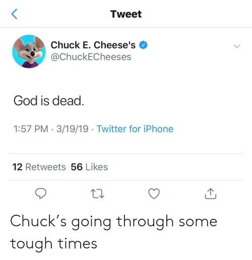 Tweet Chuck E Cheese's God Is Dead 157 PM 31919 Twitter for