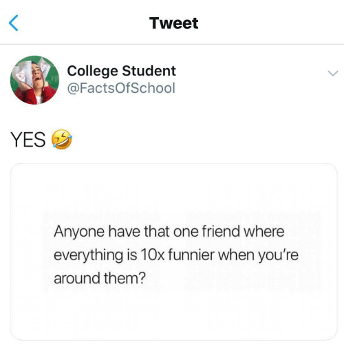 College, Yes, and Student: Tweet  College Student  @FactsOfSchool  YESウ  Anyone have that one friend where  everything is 10x funnier when you're  around them?