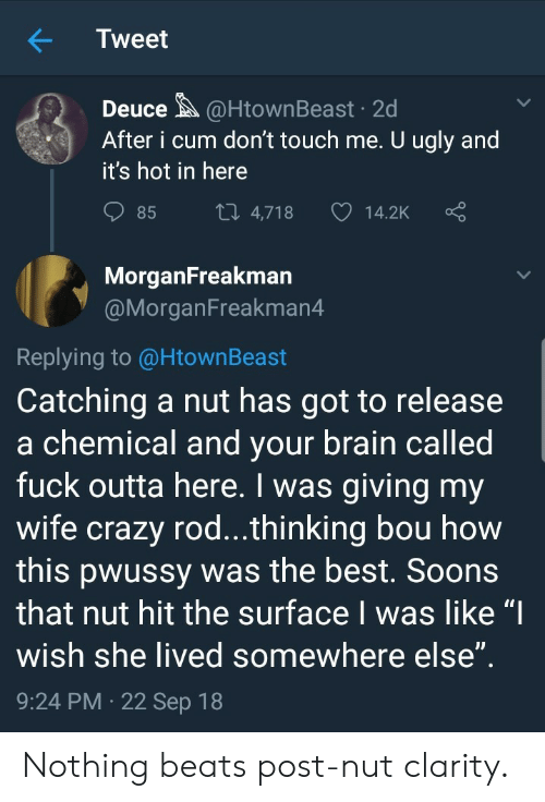 """Crazy, Cum, and Ugly: Tweet  Deuce@HtownBeast 2d  After i cum don't touch me. U ugly and  it's hot in here  85  4,718  14.2K  MorganFreakman  @MorganFreakman4  Replying to @HtownBeast  Catching a nut has got to release  a chemical and vour brain called  fuck outta here. I was giving my  wife crazy rod...thinking bou how  this pwussy was the best. Soons  that nut hit the surface I was like """"I  wish she lived somewhere else  9:24 PM 22 Sep 18 Nothing beats post-nut clarity."""