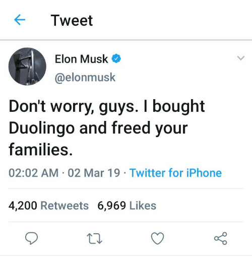 Iphone, Twitter, and Iphone 4: Tweet  Elon Musk  @elonmusk  Don't worry, guys. I bought  Duolingo and freed your  families  02:02 AM 02 Mar 19 Twitter for iPhone  4,200 Retweets 6,969 Likes