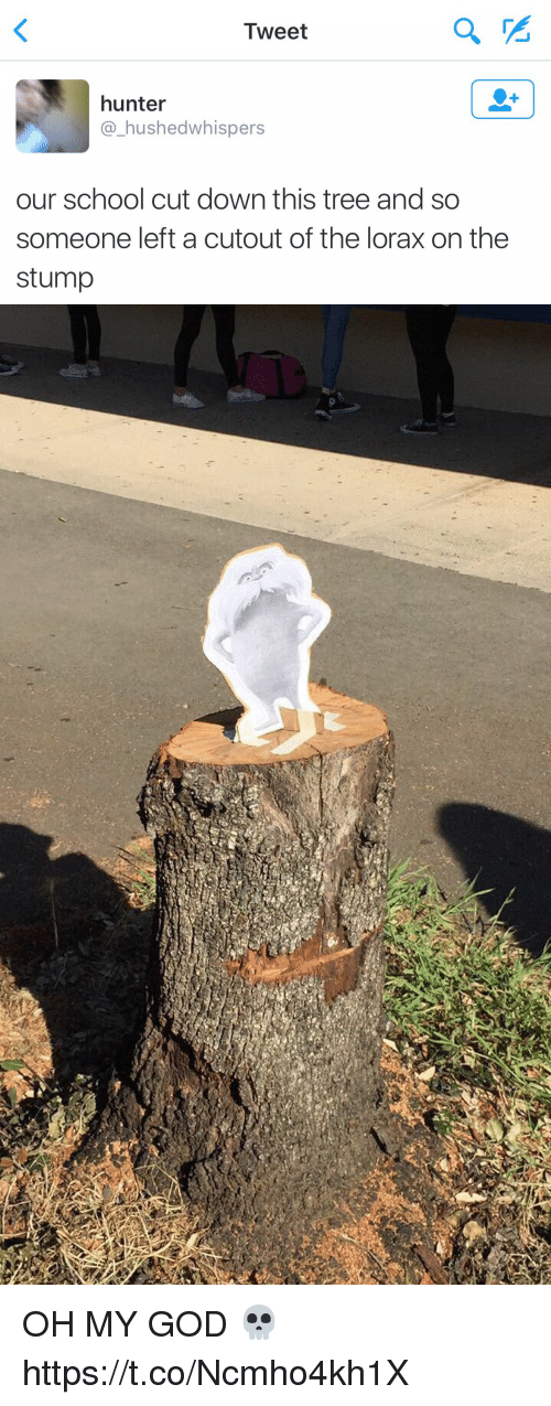 Funny, God, and Oh My God: Tweet  hunter  a hushed whispers  our school cut down this tree and so  someone left a cutout of the lorax on the  stump OH MY GOD 💀 https://t.co/Ncmho4kh1X