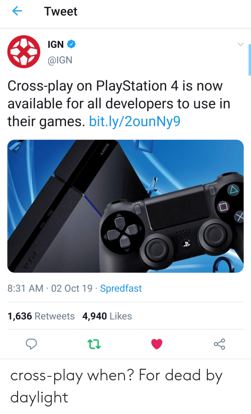 Tweet Ign Cross Play On Playstation 4 Is Now Available For