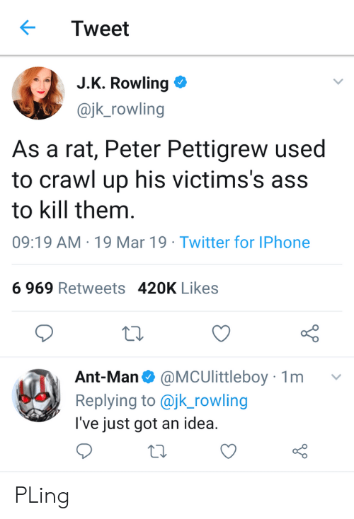 Ass, Iphone, and Twitter: Tweet  J.K. Rowling  @jk_rowling  As a rat, Peter Pettigrew used  to crawl up his victims's ass  to kill them  09:19 AM 19 Mar 19 Twitter for IPhone  6 969 Retweets 420K Likes  o D  Ant-Man@MCUlittleboy 1m v  Replying to @jk_rowling  l've just got an idea. PLing