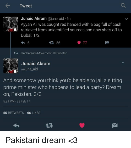 Ali, Jail, and Memes: Tweet  Junaid Akram  ajune aid 6h  Ayyan Ali was caught red handed with a bag full of cash  retrieved from unidentified sources and now she's off to  Dubai. 1/2  77  tt Hadharaam Movement. Retweeted  Junaid Akram  @june aid  And somehow you think you'd be able to jail a sitting  prime minister who happens to lead a party? Dream  on, Pakistan. 2/2  5:21 PM 23 Feb 17  55  RETWEETS 66  LIKES Pakistani dream <3