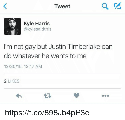 Justin TImberlake, Memes, and 🤖: Tweet  Kyle Harris  @kylesaidthis  I'm not gay but Justin Timberlake can  do whatever he wants to me  12/30/15, 12:17 AM  2 LIKES  27 https://t.co/898Jb4pP3c