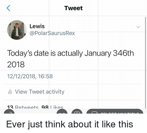 Memes, Date, and 🤖: Tweet  Lewis  @PolarSaurusRey  Today's date is actually January 346th  2018  12/12/2018, 16:58  li View Tweet activity Ever just think about it like this