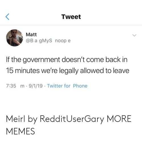 Dank, Memes, and Phone: Tweet  Matt  @B a gMyS noop e  If the government doesn't come back in  15 minutes we're legally allowed to leave  7:35 m-9/1/19 Twitter for Phone Meirl by RedditUserGary MORE MEMES