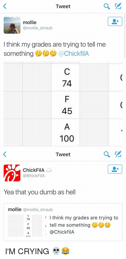 Chick-Fil-A, Fila, and Molly: Tweet  mollie  @mollie straub  I think my grades are trying to tell me  something  achickfilA  74  45  100   Tweet  Chick FilA  Ca Bhick FilA  Yea that you dumbas hell  mollie  @mollie straub  I think my grades are trying to  74  tell me something  45  @Chick fil A  MAA I'M CRYING 💀😂