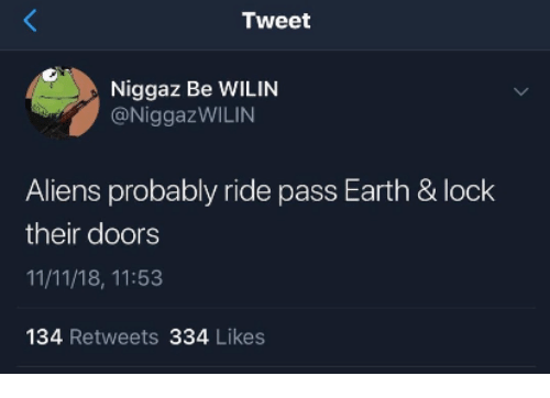 Aliens, Earth, and Doors: Tweet  Niggaz Be WILIN  @NiggazWILIN  Aliens probably ride pass Earth & lock  their doors  11/11/18, 11:53  134 Retweets 334 Likes