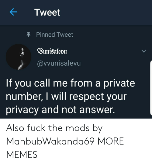 Dank, Memes, and Respect: Tweet  Pinned Tweet  @vvunisalevu  If you call me from a private  number, I will respect your  privacy and not answer. Also fuck the mods by MahbubWakanda69 MORE MEMES
