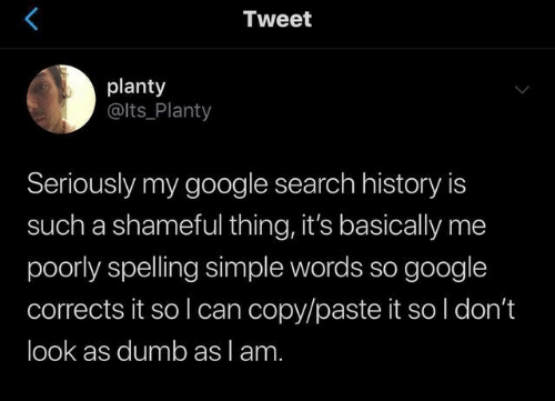Dank, Dumb, and Google: Tweet  planty  @lts_Planty  Seriously my google search history is  such a shameful thing, it's basically me  poorly spelling simple words so google  corrects it so I can copy/paste it so l don't  look as dumb as lam.