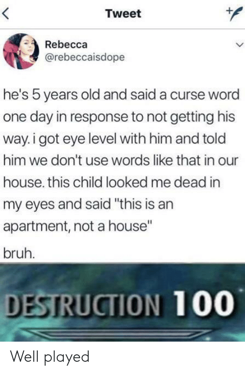 """Bruh, House, and Word: Tweet  Rebecca  @rebeccaisdope  he's 5 years old and said a curse word  one day in response to not getting his  way. i got eye level with him and told  him we don't use words like that in our  house. this child looked me dead in  my eyes and said """"this is an  apartment, not a house""""  bruh.  DESTRUCTION 100 Well played"""