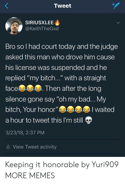 """Bad, Bitch, and Dank: Tweet  SIRIUSXLEE  @KeithTheGxd  Bro so l had court today and the judge  asked this man who drove him cause  his license was suspended and he  replied """"my bitch..."""" with a straight  face  silence gone say """"oh my bad... My  bitch, Your honor""""  a hour to tweet this I'm still  3/23/18, 2:37 PM  li View Tweet activity  Then after the long  I waited Keeping it honorable by Yuri909 MORE MEMES"""