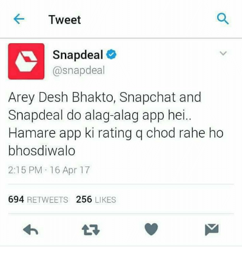 e217e927405 Tweet Snapdeal Deal Arey Desh Bhakto Snapchat and Snapdeal Do Alag ...