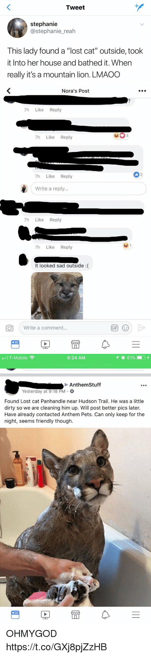 "Gif, T-Mobile, and Lost: Tweet  stephanie  @stephanie_reah  This lady found a ""lost cat"" outside, took  it Into her house and bathed it. When  really it's a mountain lion. LMAOO   Nora's Post  7h Like Reply  7h Like Reply  2  7h Like Reply  Write a reply...  7h Like Reply  7h Like Reply  It looked sad outside :(  。  ( Write a comment.  GIF)  (じ   T-Mobile  6:24 AM  Anthem Stuff  Yesterday at 9:18 PM .  Found Lost cat Panhandle near Hudson Trail. He was a little  dirty so we are cleaning him up. Will post better pics later.  Have already contacted Anthem Pets. Can only keep for the  night, seems friendly though.  rt OHMYGOD https://t.co/GXj8pjZzHB"