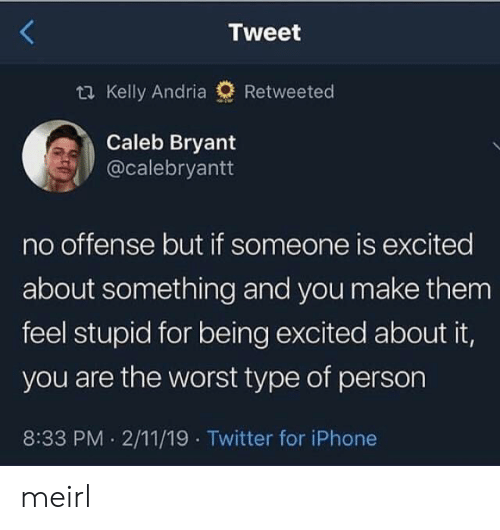 Iphone, The Worst, and Twitter: Tweet  t Kelly Andria  Retweeted  Caleb Bryant  @calebryantt  no offense but if someone is excited  about something and you make them  feel stupid for being excited about it,  you are the worst type of person  8:33 PM 2/11/19 Twitter for iPhone meirl