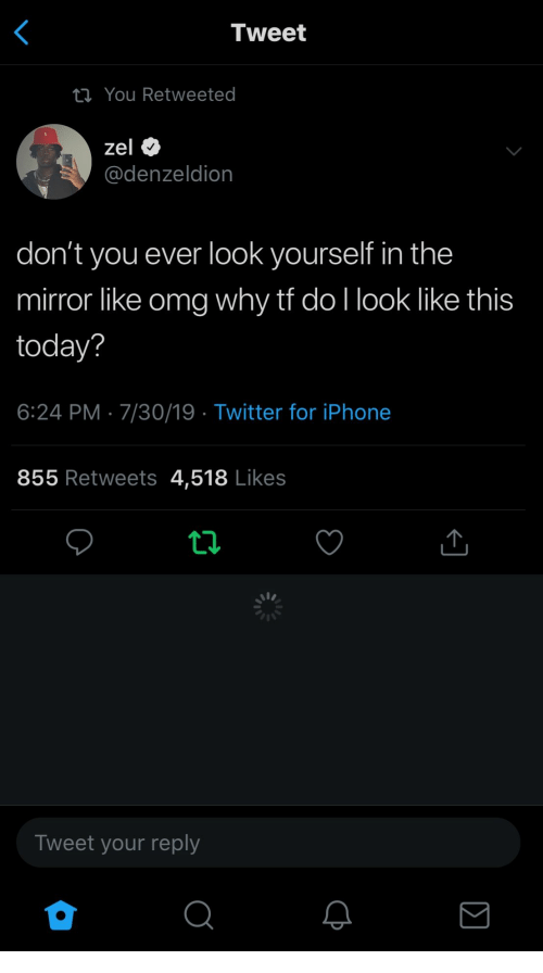 Iphone, Omg, and Twitter: Tweet  ta You Retweeted  zel  @denzeldion  don't you ever look yourself in the  mirror like omg why tf do I look like this  today?  6:24 PM 7/30/19 Twitter for iPhone  855 Retweets 4,518 Likes  Tweet your reply  ΙΣ
