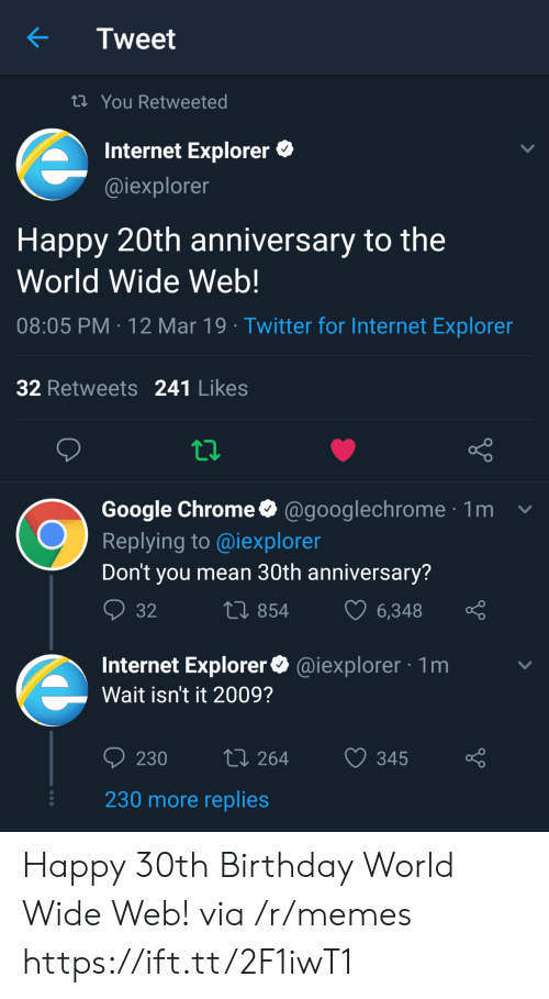 Birthday, Chrome, and Google: Tweet  ti You Retweeted  Internet Explorer  @iexplorer  Happy 20th anniversary to the  World Wide Web!  08:05 PM 12 Mar 19 Twitter for Internet Exploren  32 Retweets 241 Likes  Google Chrome@googlechrome1  Replying to @iexploren  Don't you mean 30th anniversary?  854  6348  Internet Explorer@iexplorer 1m  Wait isn't it 2009?  230 264 345 o  230 more replies Happy 30th Birthday World Wide Web! via /r/memes https://ift.tt/2F1iwT1