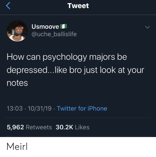 Iphone, Twitter, and Iphone 5: Tweet  Usmoove  @uche_ballislife  How can psychology majors be  depressed...like bro just look at your  notes  13:03 10/31/19 Twitter for iPhone  5,962 Retweets 30.2K Likes Meirl