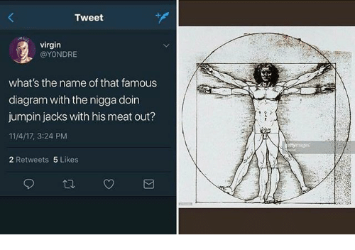 Virgin, Dank Memes, and Diagram: Tweet  virgin  @YONDRE  what's the name of that famous  diagram with the nigga doin  jumpin jacks with his meat out?  11/4/17, 3:24 PM  2 Retweets 5 Likes