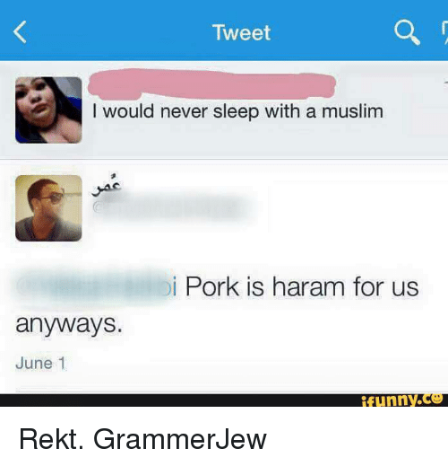 tweet would never sleep with a muslim di pork is 2624972 tweet would never sleep with a muslim di pork is haram for us