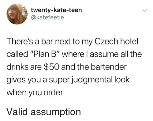 """Memes, Plan B, and Hotel: twenty-kate-teen  @katefeetie  There's a bar next to my Czech hotel  called """"Plan B"""" where l assume all the  drinks are $50 and the bartender  gives you a super judgmental look  when you order Valid assumption"""