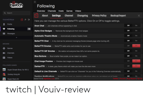 Twitch Following Overview Channels Hosts Games Videos Q
