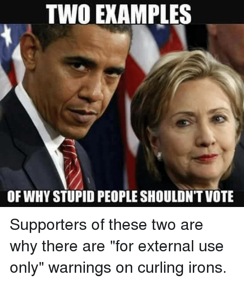 """Memes, 🤖, and Iron: TWO EXAMPLES  OF WHYSTUPID PEOPLE SHOULDNT VOTE Supporters of these two are why there are """"for external use only"""" warnings on curling irons."""