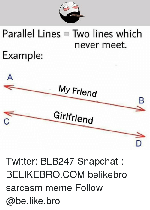 Be Like, Meme, and Memes: Two lines which  never meet.  Parallel Lines  Example:  My Friend  Girlfriend Twitter: BLB247 Snapchat : BELIKEBRO.COM belikebro sarcasm meme Follow @be.like.bro