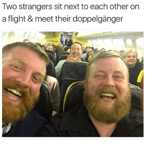 Doppelganger, Memes, and Flight: Two strangers sit next to each other on  a flight & meet their doppelganger  FI