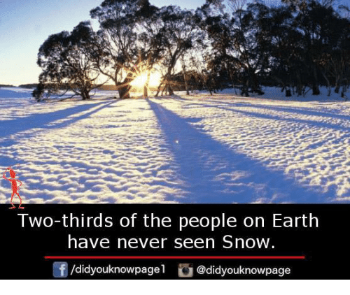 Memes, Earth, and Snow: Two-thirds of the people on Earth  have never seen Snow  /didyouknowpagel  @didyouknowpage