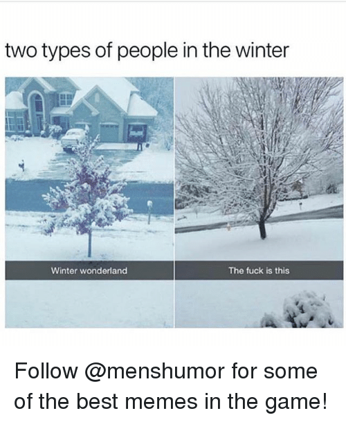 Funny, Meme, and Memes: two types of people in the winter  Winter wonderland  The fuck is this Follow @menshumor for some of the best memes in the game!