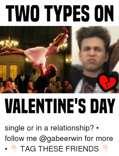 Friends, Memes, and Valentine's Day: TWO TYPES ON  VALENTINE'S DAY single or in a relationship? • follow me @gabeerwin for more • 👇🏻 TAG THESE FRIENDS 👇🏻