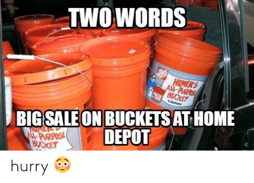 Two Words Big Sale On Buckets At Home Depot Hurry Home Meme On
