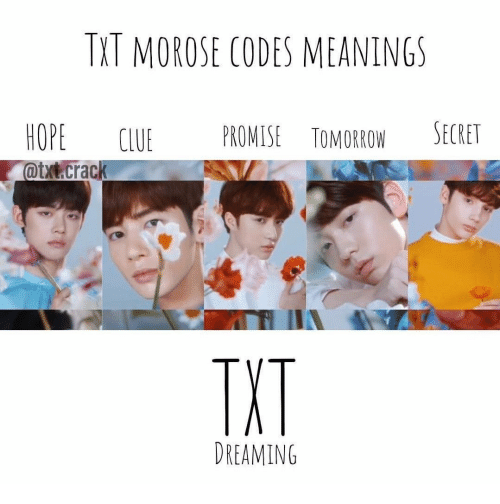 Hope, Secret, and Clue: TXT MOROSE CODES MEANINGS  HOPE CLUE PROMISE TOMOROW SECRET  TXT  DREAMING