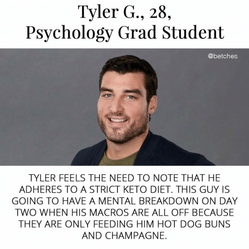 Champagne, Psychology, and Diet: Tyler G., 28,  Psychology Grad Student  @betches  TYLER FEELS THE NEED TO NOTE THAT HE  ADHERES TO A STRICT KETO DIET. THIS GUY IS  GOING TO HAVE A MENTAL BREAKDOWN ON DAY  TWO WHEN HIS MACROS ARE ALL OFF BECAUSE  THEY ARE ONLY FEEDING HIM HOT DOG BUNS  AND CHAMPAGNE.