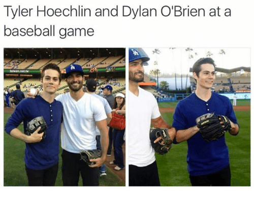 Baseball, Dylan O'Brien, and Memes: Tyler Hoechlin and Dylan O'Brien at a  baseball game