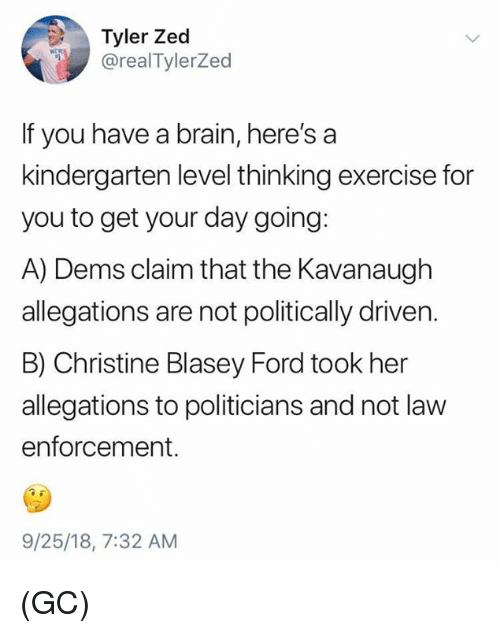 Memes, Brain, and Exercise: Tyler Zed  @realTylerZed  If you have a brain, here's a  kindergarten level thinking exercise for  you to get your day going:  A) Dems claim that the Kavanaugh  allegations are not politically driven.  B) Christine Blasey Ford took her  allegations to politicians and not law  enforcement.  9/25/18, 7:32 AM (GC)