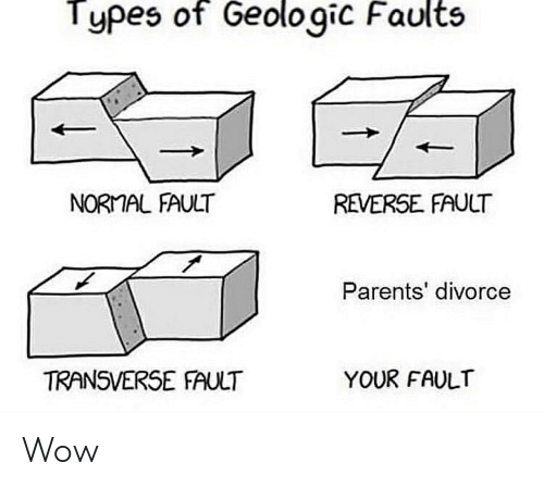 Types of Geologic Faults NORMAL FAULT REVERSE FAULT Parents' Divorce