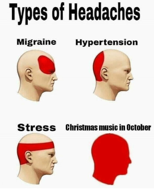 Christmas, Funny, and Music: Types of Headaches  ligraine Hypertension  Stress  Christmas music in October